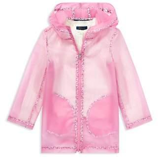 Ralph Lauren Girls' Floral-Trimmed Raincoat - Big Kid