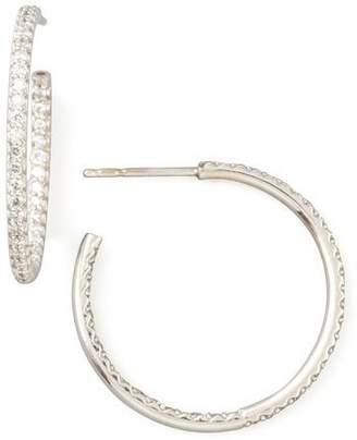 Roberto Coin 25mm White Gold Diamond Hoop Earrings, 0.8ct