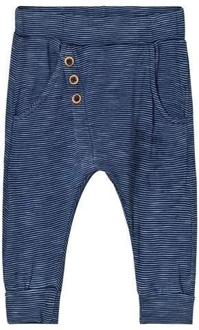 Hust&Claire Blue Stripe Button Baby Leggings