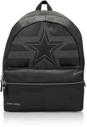 Jimmy Choo Reed Black Leather Large Backpack W/studded Star