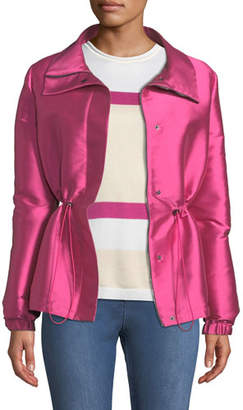 St. John Fold-Over Collar Double-Face Duchess Satin Jacket