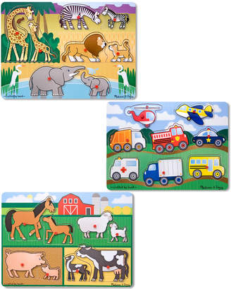 Melissa & Doug Peg Puzzle Bundle: Farm, Vehicles & Safari
