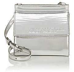 Calvin Klein Women's Foldover Leather Crossbody Bag - Silver
