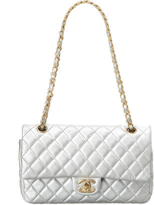 Chanel Limited Edition Silver Quilted Metallic Leather Medium Double Flap Bag