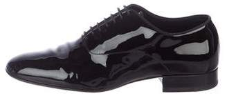 Saint Laurent Patent Leather Round-Toe Oxfords