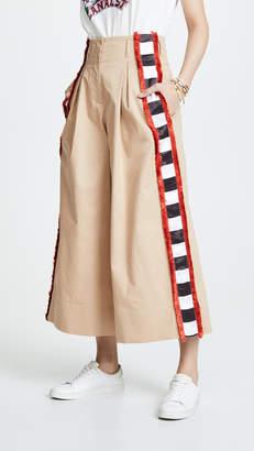 Stella Jean Check Side Stripe Wide Leg Pants