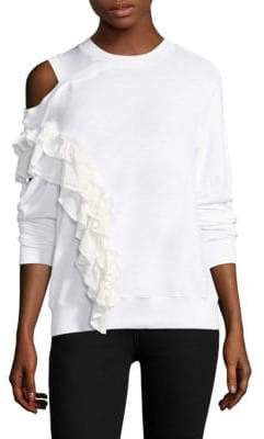 Clu Ruffle Cold-Shoulder Pullover