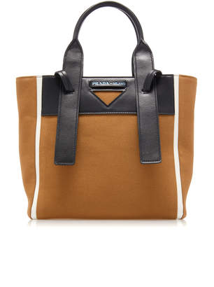 Prada Leather-Trimmed Canvas Tote Bag