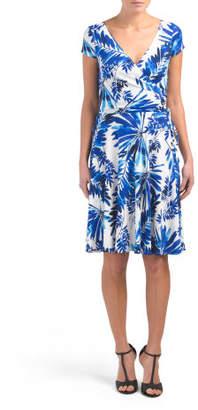 Palm Spray Faux Wrap Dress