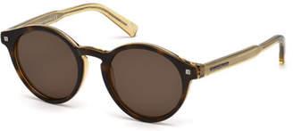 Ermenegildo Zegna Round Acetate Sunglasses with Chevron Details, Havana/Champagne $315 thestylecure.com