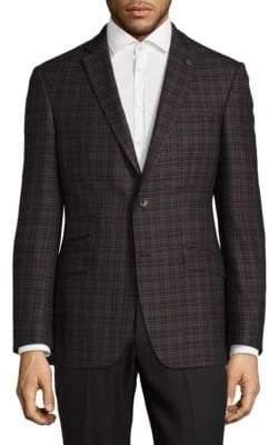 Black Brown 1826 Flat-Front Wool-Blend Suit Pants