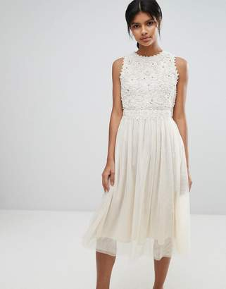 French Connection Lisa Lace Bodice Midi Dress