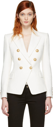 Balmain White Double-Breasted Blazer $2,230 thestylecure.com