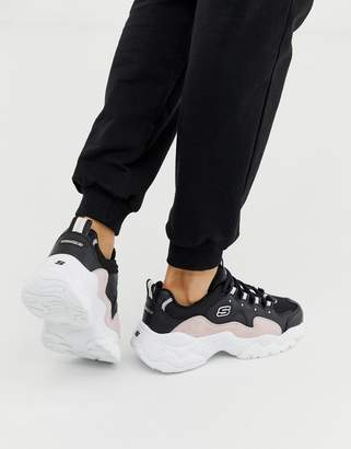 Skechers D'Lites 3.0 Zenway chunky sneaker in black and pink
