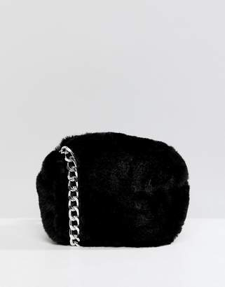 Pull&Bear fur cross body bag in Black