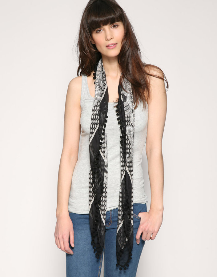 Warehouse Silk Paisley Bobble Trim Floral Scarf
