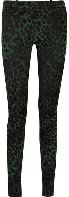 Roland Mouret Mortimer leopard jacquard and stretch-double crepe pants