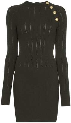 Balmain Button-detail wool-blend dress