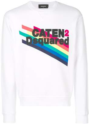DSQUARED2 Dan fit rainbow-print sweatshirt