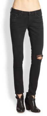 AG Adriano Goldschmied The Legging Ankle Skinny Jeans/Destroyed Black