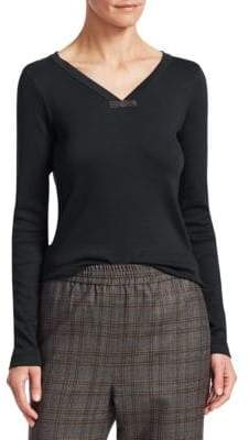Brunello Cucinelli Stretch Cotton V-Neck Shirt