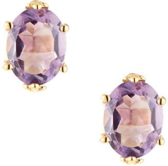 Viola Purple Amethyst Oval Stud Earrings