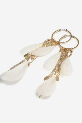 Topshop **Feather Hoop Earrings