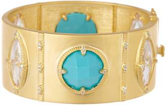 Freida Rothman 14K Yellow Gold Plated Sterling Silver Amazonian Allure Turquoise & CZ Hinge Bangle