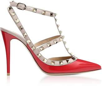 Valentino Rockstud Red Patent Leather Ankle Stap Pumps