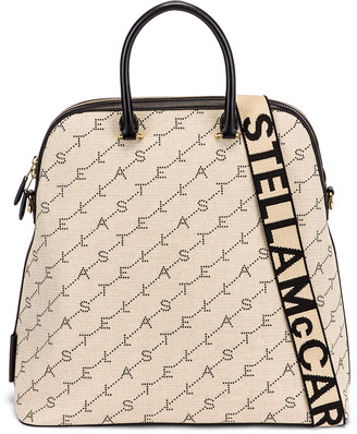 Stella McCartney Large Top Handle Monogram Canvas Bag in Sand | FWRD