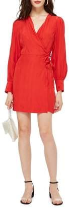 Topshop Feather Jacquard Wrap Dress