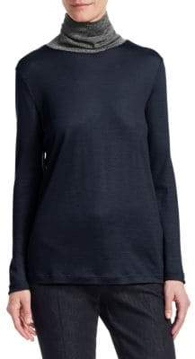 Fabiana Filippi Metallic Turtleneck Top