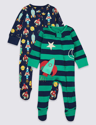 Marks and Spencer 2 Pack Pure Cotton Zip Through Space Sleepsuits