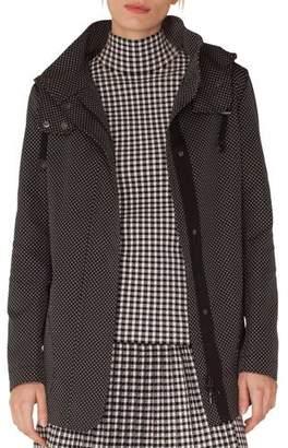 Akris Punto Pindot Jacquard Zip-Front Parka Jacket with Detachable Hood