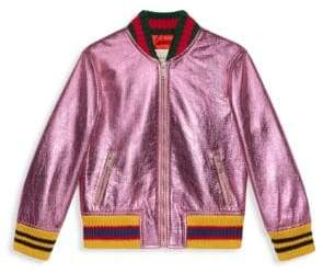 Gucci Little Girl's Metallic Leather Bomber Jacket