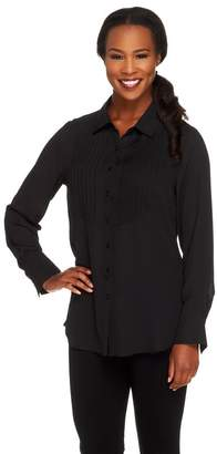 Joan Rivers Classics Collection Joan Rivers Tuxedo Blouse with Long Sleeves