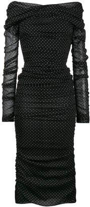 off-shoulder ruched polka dot dress