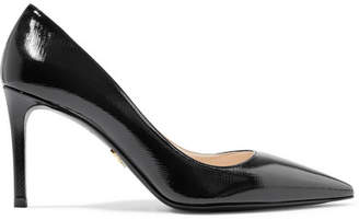 Prada Glossed Textured-leather Pumps - Black
