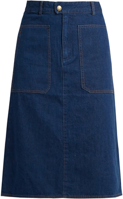 A.P.C. Nevada cotton-denim skirt $145 thestylecure.com