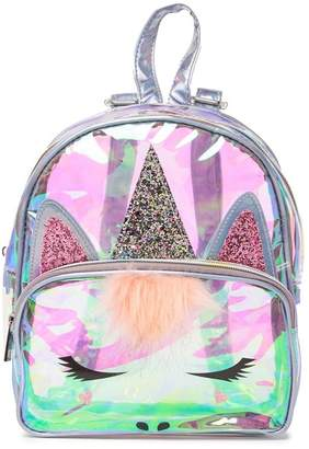 clear OMG! Accessories Lilac Iridescent Unicorn Faux Fur Detail Backpack