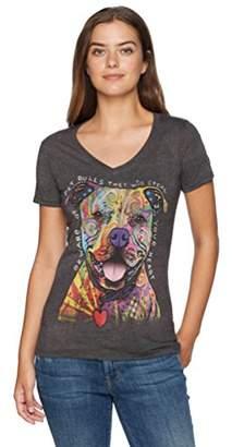 The Mountain Women's Tri-Blend V-Neck Beware Pit Bull T-Shirt