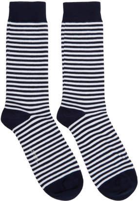 Sunspel White and Navy Stripe Socks