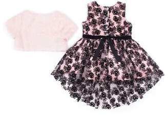 Little Lass Flocked Tulle Holiday Dress with Faux Fur Shrug. 2-Piece Set (Little Girls)