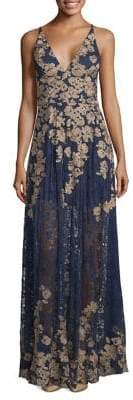 Xscape Evenings Petite Vneck Floral Embellished Woven Evening Gown