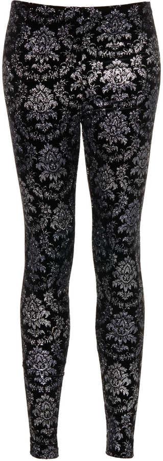 Topshop Ombre glitter velvet leggings