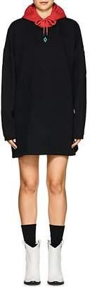 "Marcelo Burlon County of Milan WOMEN'S ""CUPIDO"" COTTON FLEECE SWEATSHIRT DRESS - BLACK SIZE L"