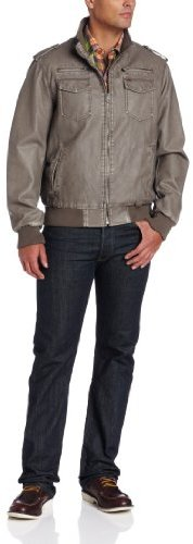 Levi's Men's Faux-Leather Military Bomber Jacket