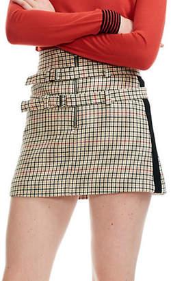 Maje Ioldi Plaid Zip Mini Skirt