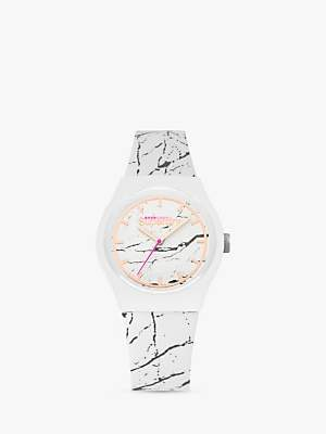 Superdry SYL253WE Women's Urban Marble Silicone Strap Watch, White