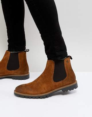 Base London Turret Suede Chelsea Boots in Tan